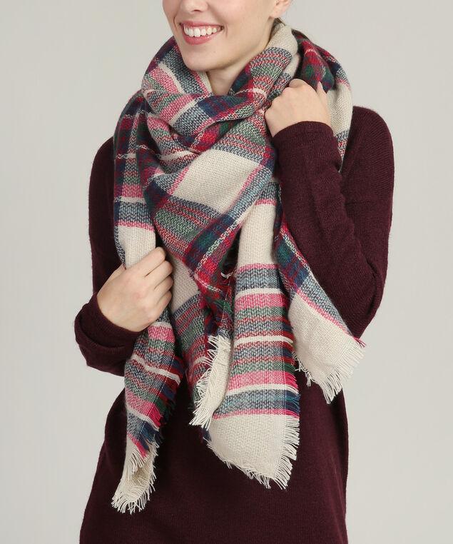 classic plaid blanket scarf, CRANBERRY/PINK, hi-res