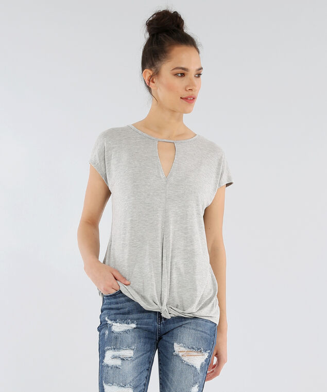twist front dolman tee - wb, HEATHER GREY, hi-res