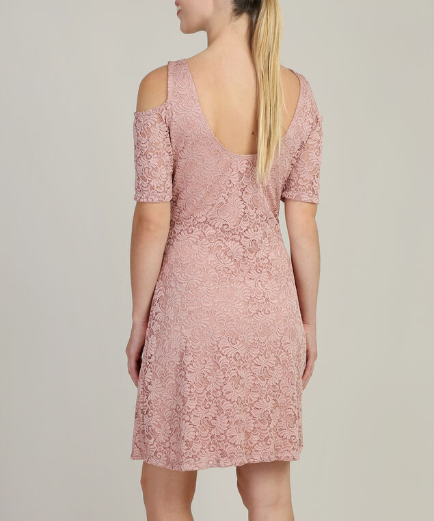 lace cold shoulder dress - wb, PINK, hi-res