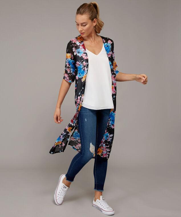long floral kimono, ROSE FLORAL, hi-res