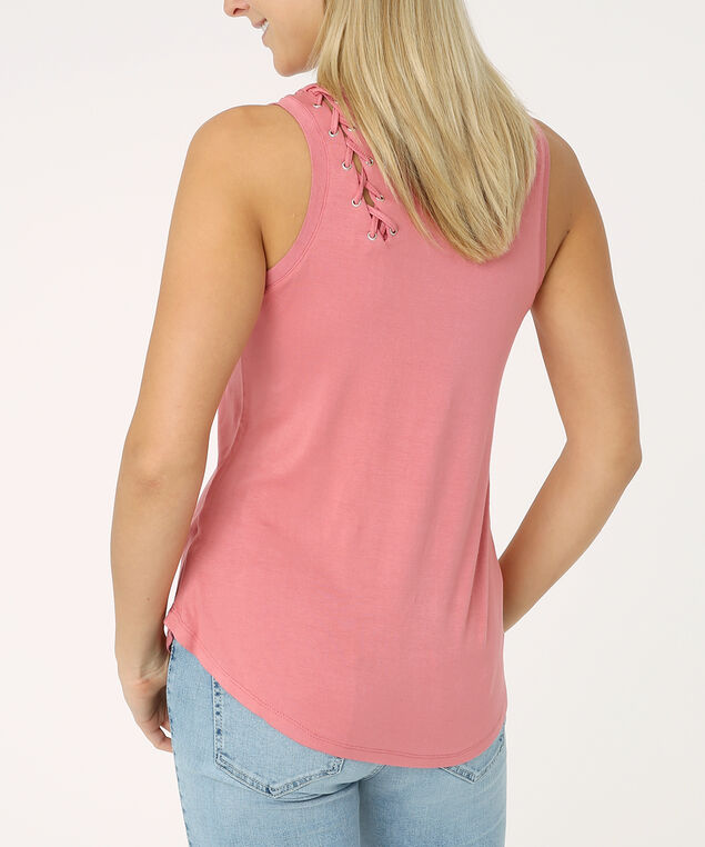 lace up shoulder tank - wb, RUSTIC RED, hi-res