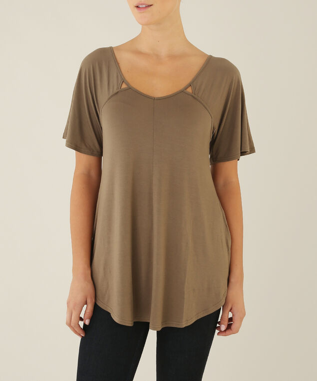 tee with front cutouts - wb, GREEN, hi-res