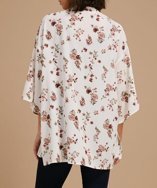 printed crepe kimono, IVORY BLUSH, hi-res