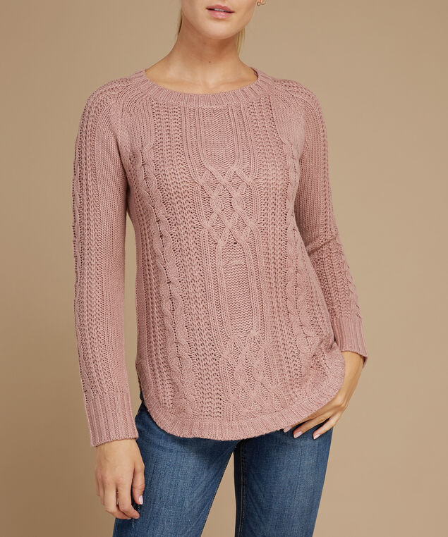 cable stitch popover sweater - wb, MINK VELVET, hi-res