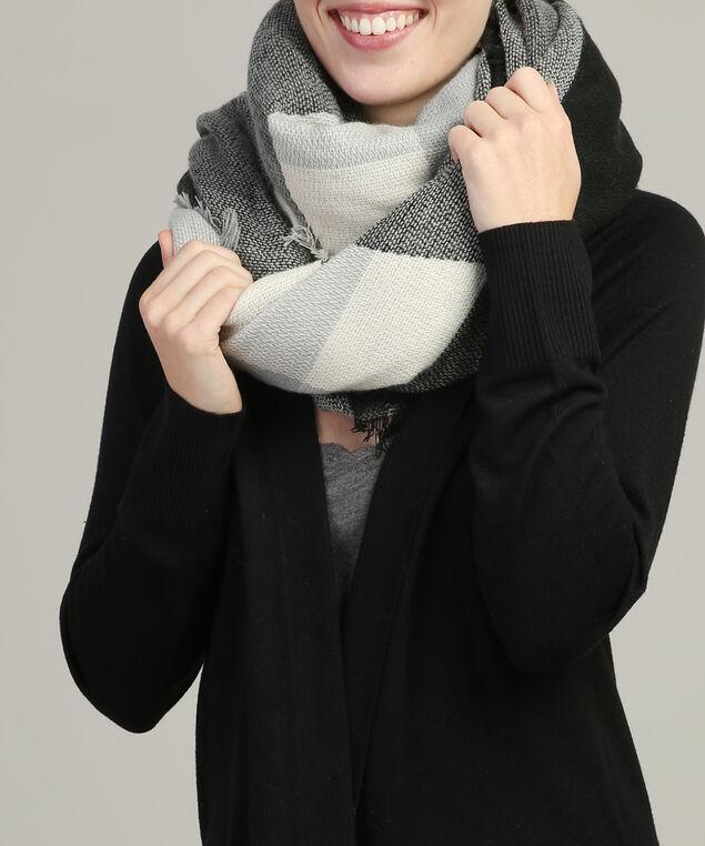 diamond pattern scarf, BLACK COMBO, hi-res