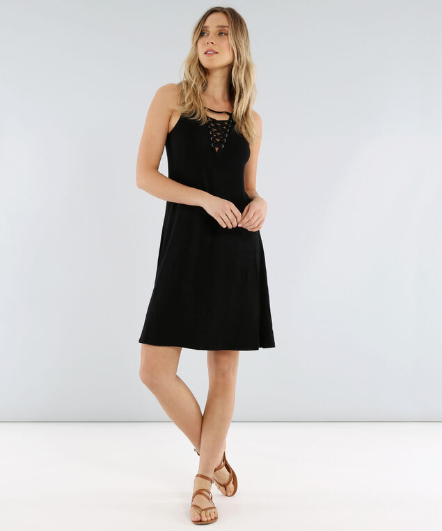 lace up front knit dress - wb, BLACK, hi-res