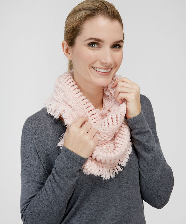 popcorn knit infinity scarf, PEACH WHIP, hi-res