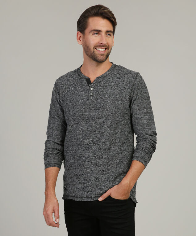 terry henley with chest pocket, BLACK/WHITE, hi-res