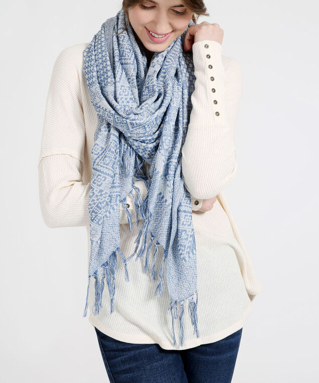 oblong mixed tapestry scarf, BLUE TPSTRY, hi-res