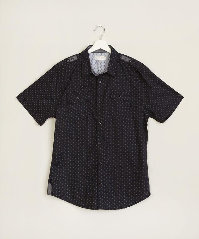 diamond print shirt, NAVY, hi-res