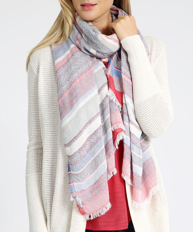 oblong stripe scarf, MULTI STRIPE, hi-res