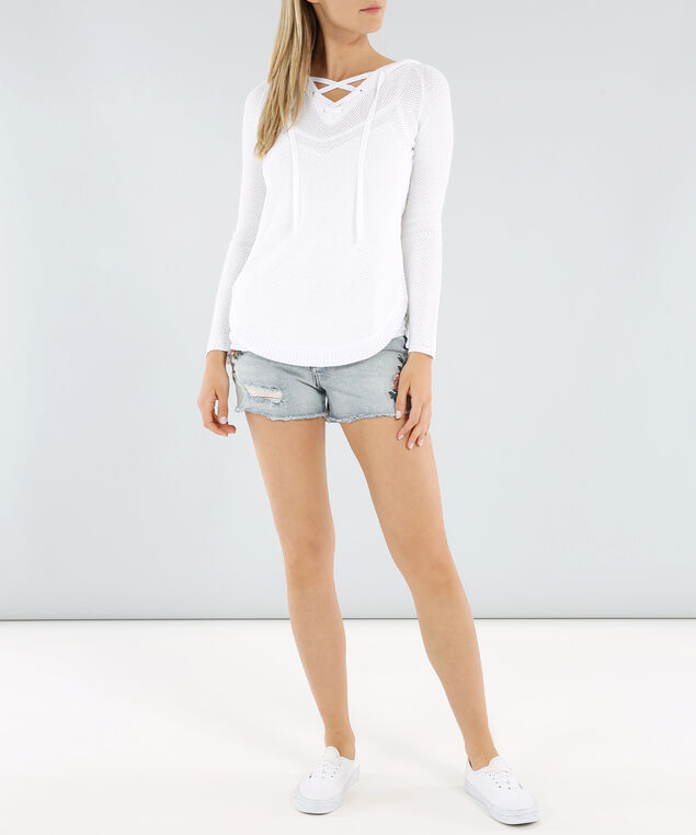 hooded laceup front sweater - wb, IVORY/WHITE, hi-res