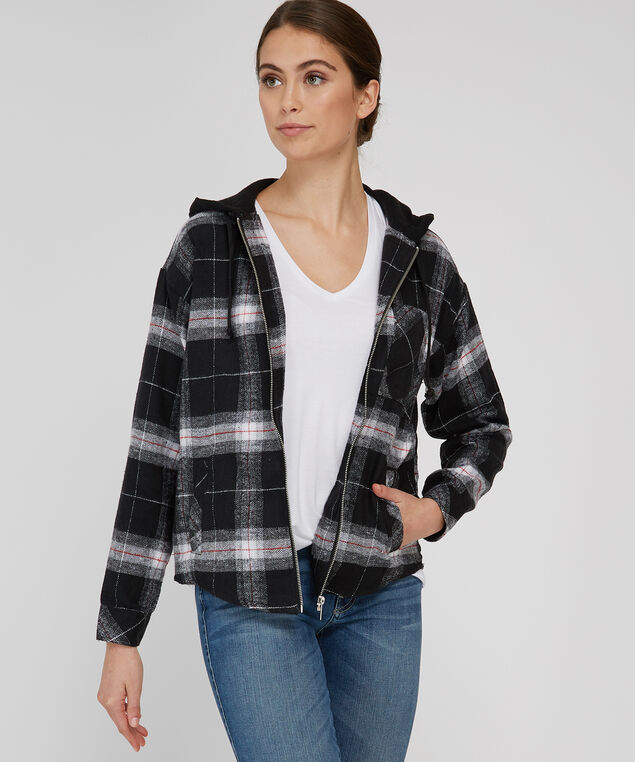 plaid hooded flannel - wb, BLACK/RED PLAID, hi-res