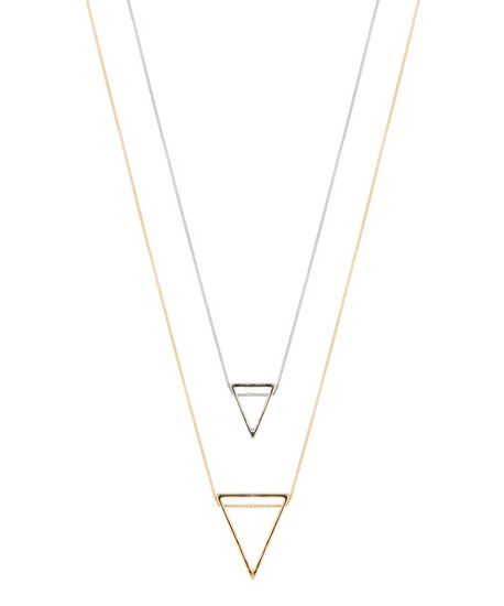 triangle pendant necklace, GOLD/SILVER, hi-res