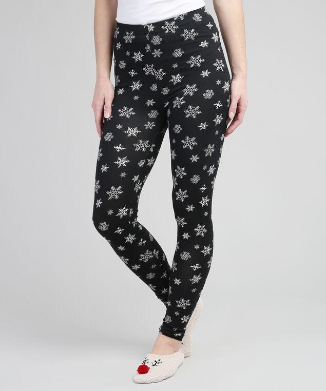 snowflake printed legging, BLACK, hi-res