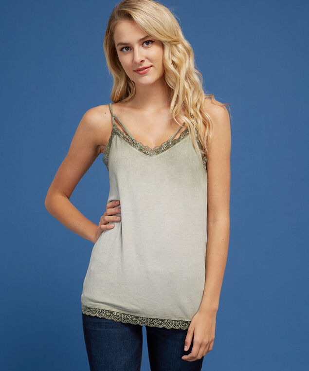 strappy lace trim cami - wb, WASH LIGHT OLIVE, hi-res