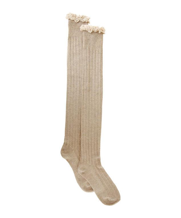 crochet knee high socks, CREAM, hi-res