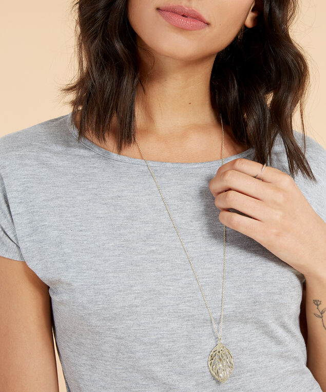 long necklace with leaf & diamante pendant, GOLD, hi-res