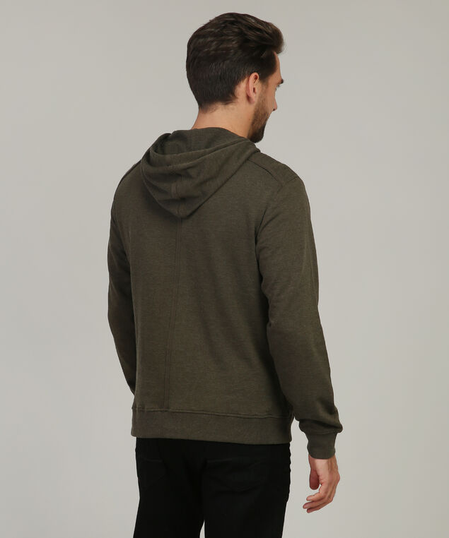 hooded fleece with chest pocket, OLIVE, hi-res
