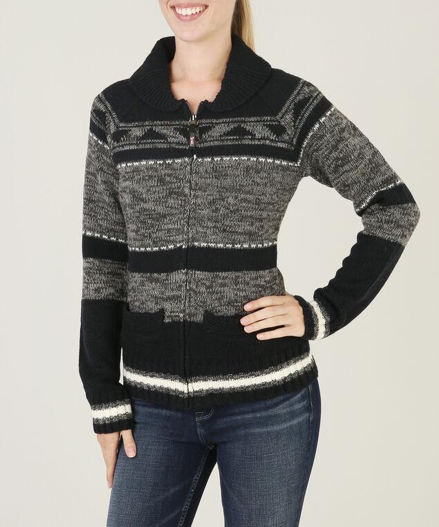 zip up striped cardigan - wb, BLACK, hi-res