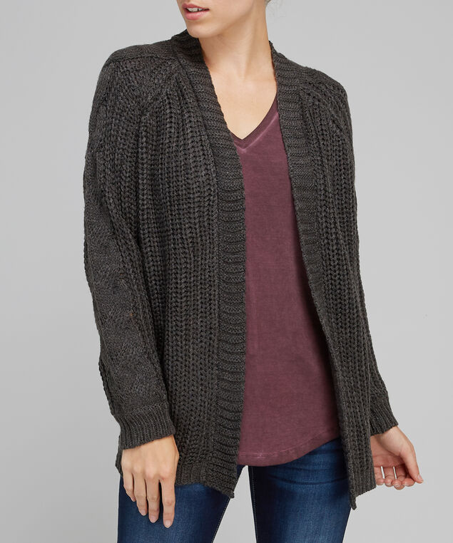 chunky cable knit cardigan - wb, ASH GREY, hi-res