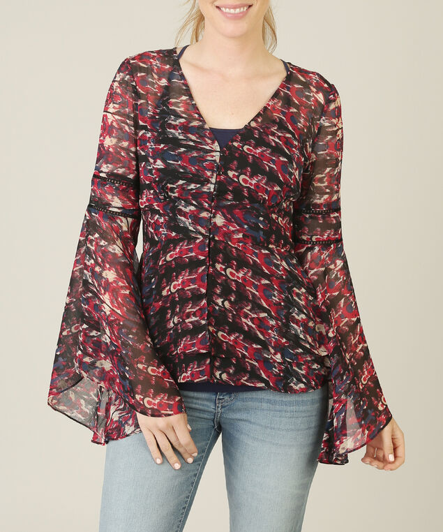 chiffon bell sleeve top - wb, RED PATTERN, hi-res