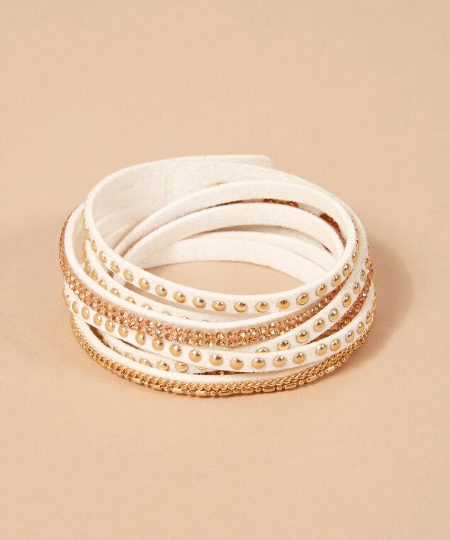 white multi strap bracelet, GOLD, hi-res