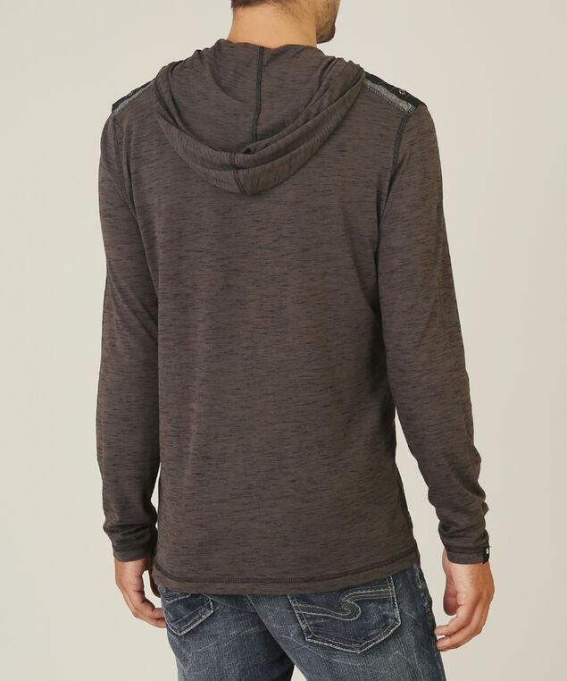 shoulder contrast hoody, CHAR/BLK, hi-res