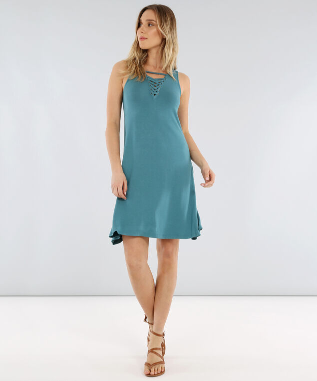 lace up front knit dress - wb, TEAL, hi-res