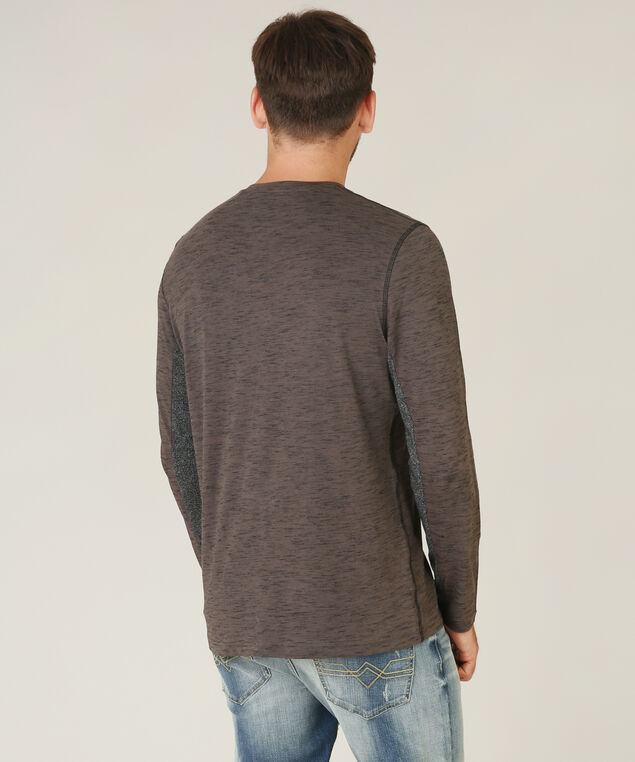 v-neck henley - wb, CHARCOAL/BLACK, hi-res