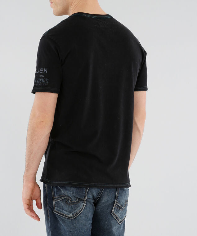 graphic tee with contrast stitching, BLACK, hi-res