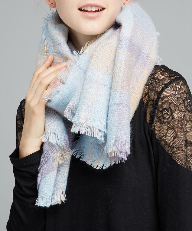 plaid blanket scarf, PALE BLUE, hi-res