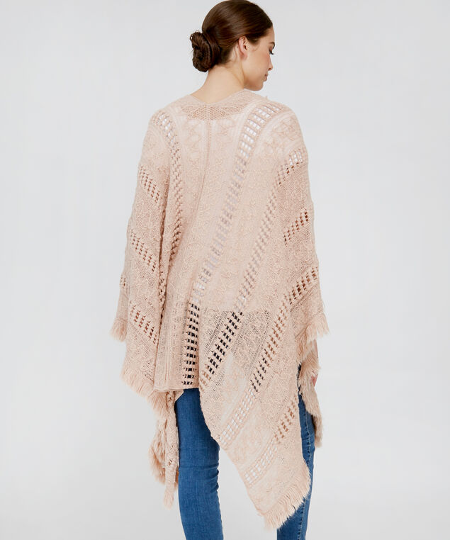 wrapped cable knit cape, ROSE DUST, hi-res