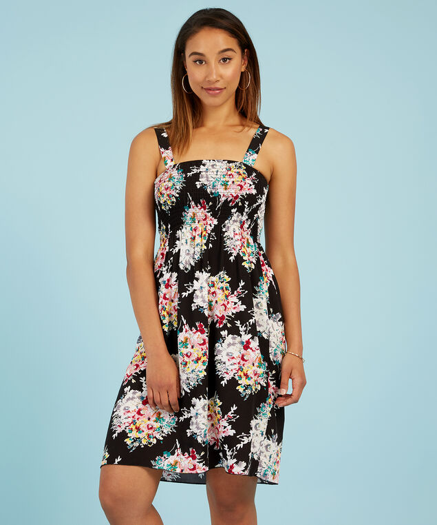 woven dress with smocking at bust, BLACK FLORAL, hi-res