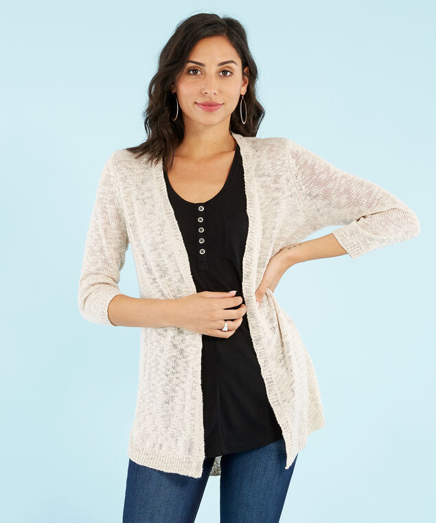 open pointelle cardi, OATMEAL, hi-res