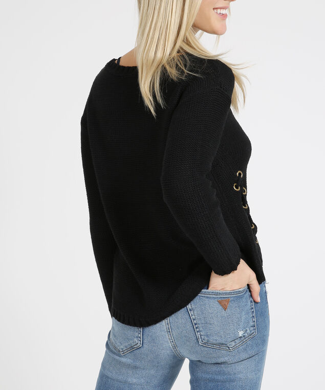 side lace up sweater - wb, BLACK, hi-res