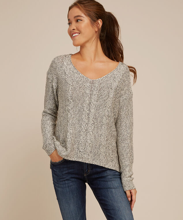 cable front popover sweater - wb, SILVER TWIST, hi-res
