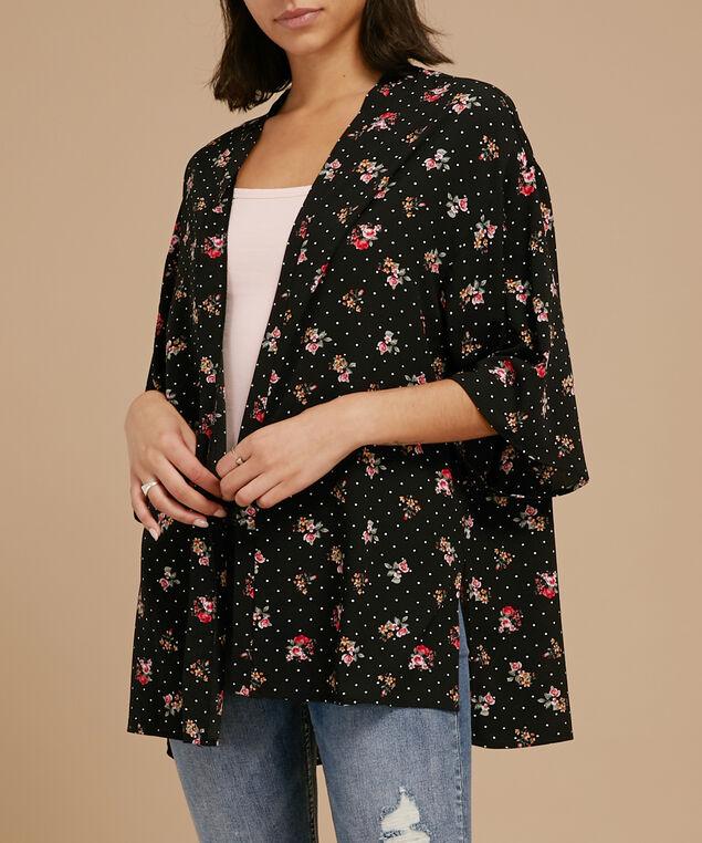 printed crepe kimono, BLACK/RED, hi-res
