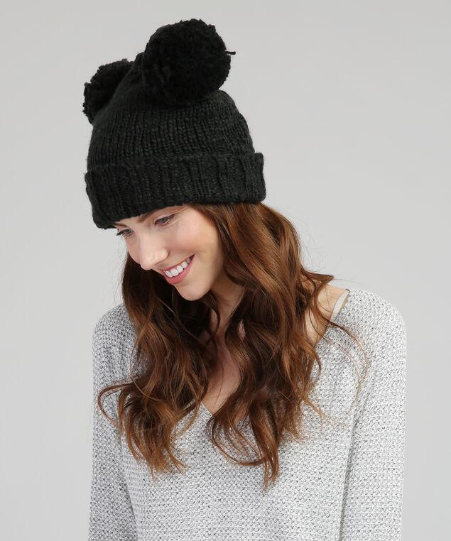 double pom-pom knit beanie, BLACK, hi-res