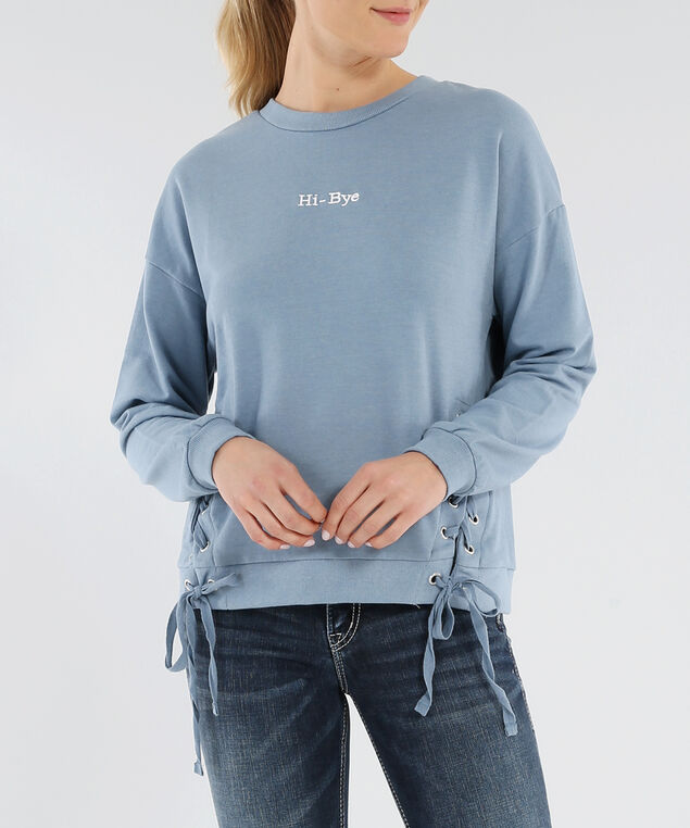 side lace up crew neck - wb, FADED DENIM, hi-res