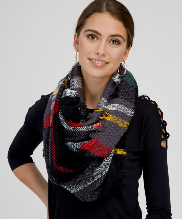 plaid infinity scarf, BLACK COMBO, hi-res