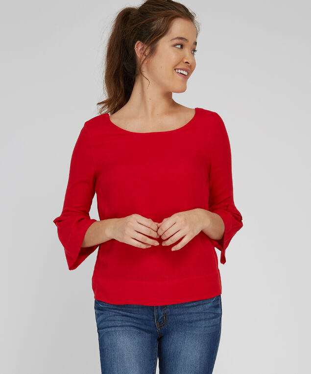 tiered bell sleeve top - wb, CRIMSON RED, hi-res
