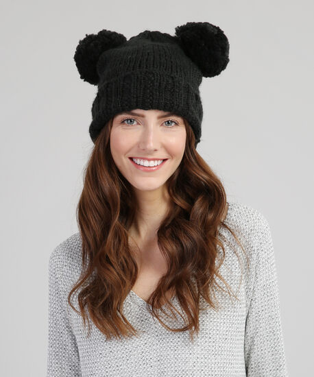 double pom-pom knit beanie, BLACK, hi-res