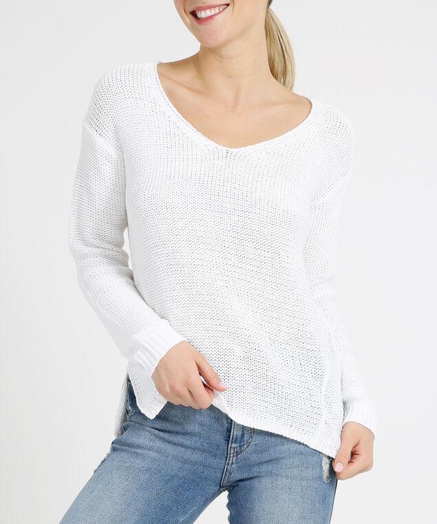side slit sweater, IVORY, hi-res