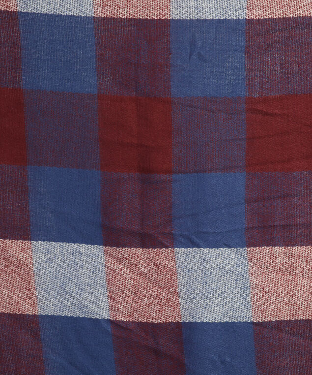classic oversized plaid scarf, BURGUNDY/NAVY, hi-res