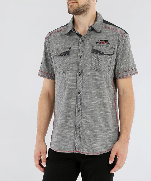 chambray woven shirt, BLACK, hi-res
