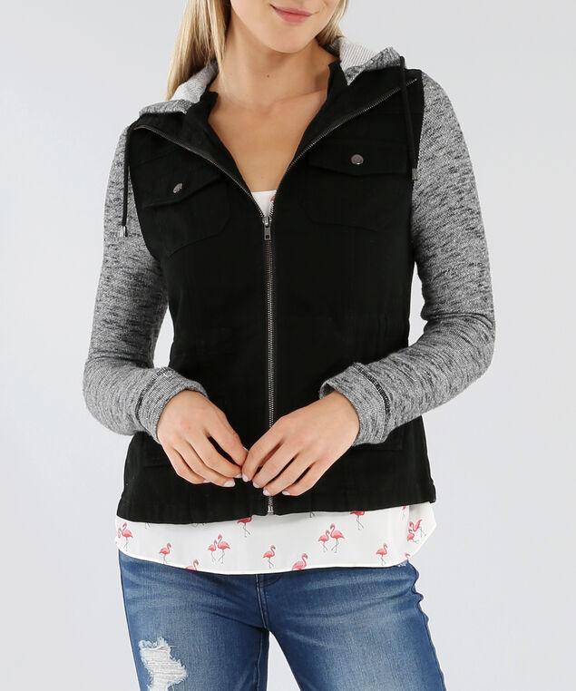 knit sleeve cargo jacket - wb, BLACK, hi-res