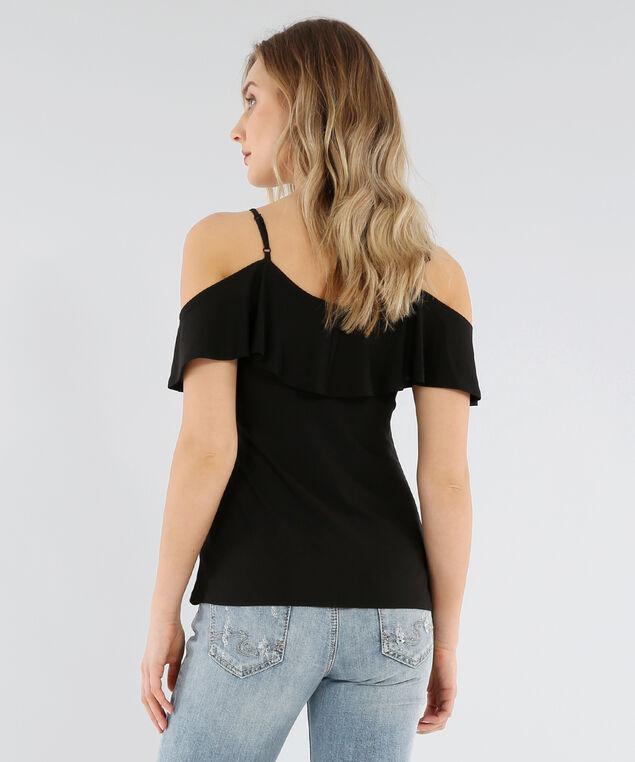 cold shoulder ruffle tee - wb, BLACK, hi-res