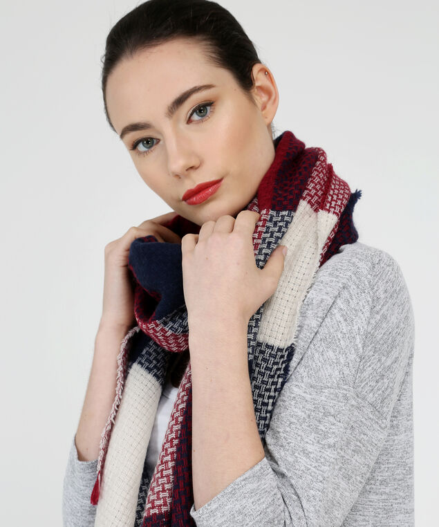 super soft plaid blanket scarf, BERRY MIX, hi-res