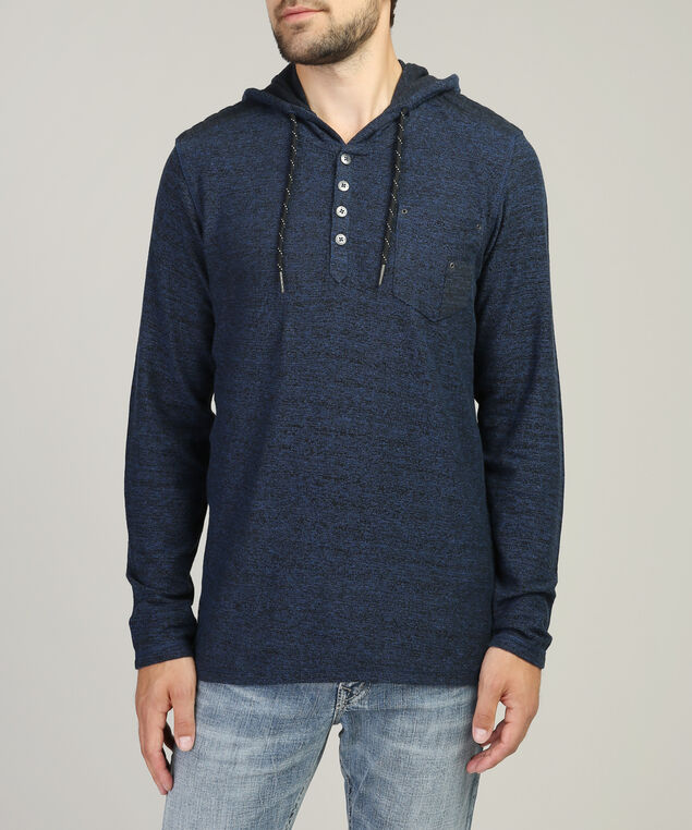 terry hooded henley, BLUE, hi-res
